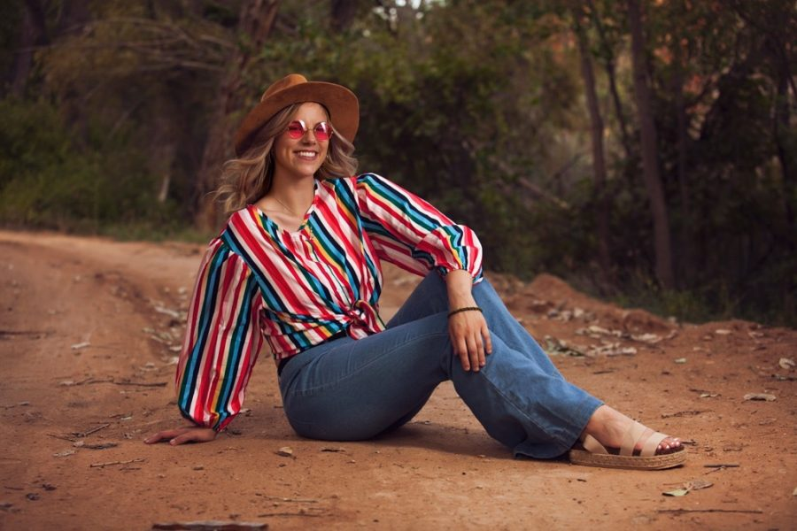 Ruby Thornton wearing 70s inspired outfit with a 2021 twist.
