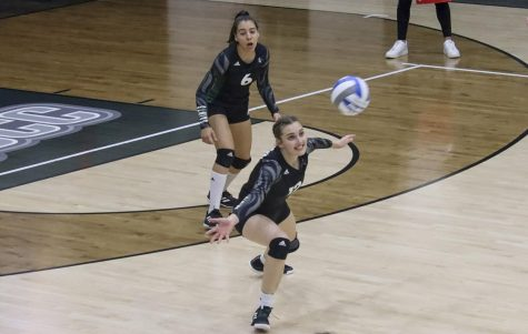 Berfin Mertcan goes to save the ball. The Lady Saint has an overall of 94 attacks and 31 kills. Mertcan is a setter for the Lady Saints, from Izmir, Turkey.
