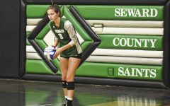 Brooke Katen, sophomore from Maryville, Missouri, waits for the referee to whistle for her to serve. (file photo)